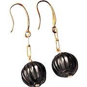 Whitby Jet Hand Carved Earrings Brass Hooks For Pierced Ears