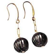 Whitby Jet Hand Carved Earrings Brass Hooks For Pierced Ears