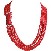 Vintage Red Coral 6 Strand Necklace Carved Red Coral Goldfish Sterling Clasp