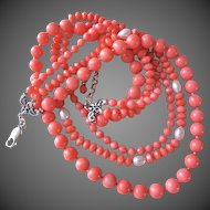 Pink Peach Coral White Freshwater Pearl 3 Strand Necklace 71.7 grams