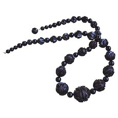 Antique 1860's Victorian Whitby Jet Carved Vine Bead Mourning Necklace