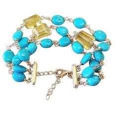 Vintage 1980's Sleeping Beauty Turquoise Peridot Gold Vermeil 3 Strand Bracelet