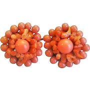 Vintage 1950's Peach Coral Earrings Clip On