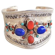 Vintage Large Sterling Silver Red Coral Lapis Lazuli Turquoise Cuff Bracelet