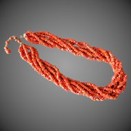 Vintage 1920's Art Deco Salmon Red Coral Necklace