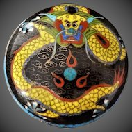 Antique Chinese Late Qing Yellow Dragon Cloisonne Box