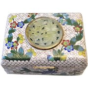 Vintage Chinese Export Cloisonne Carved Jade Hinged Box
