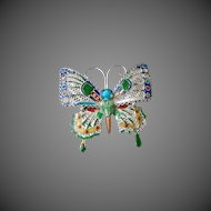 Antique Chinese Qing Dynasty Enamel Sterling Filigree Butterfly Brooch