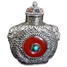 1900's Chinese Silver Gilt Repousse Carnelian, Turquoise, Coral, Lapis Lazuli Snuff Bottle