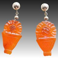 Vintage 14k Chinese Art Deco Carved Floral Basket Carnelian Earrings