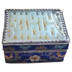 Vintage Chinese Export Cloisonne Carved Jade Silver Gilt Snuff Opium Box