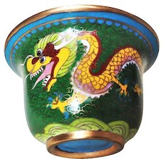 Vintage Chinese Export 20thC. Yellow Dragon Phoenix Cloisonne Cup