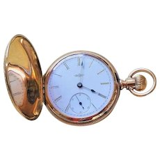 Antique 1907 Ladies Elgin Hunter's Case Pocket Watch 7 Jewels 14k Gold Fill