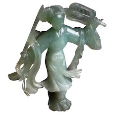Vintage Chinese Hand Carved Green Jade Dancer Figurine Statue