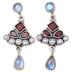 Vintage Moonstone Red Garnet Cultured Pearl Earrings Pierced Ears