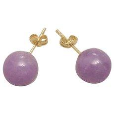 Vintage 14k Lavender Jadeite Round Stud Earrings Pierced Ears
