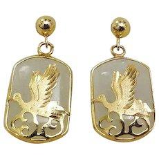 Vintage White Jadeite Gold Vermeil Earrings Pierced Ears