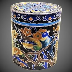 Antique 19thC Chinese Pure Fine Silver Cloisonne Opium Box