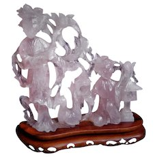 Chinese 1920's Carved Rose Quartz Mother Daughter Statue Carved Rosewood Stand