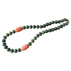 Vintage Chinese 12mm Melon Carved Green Nephrite Jade 25mm Cora Bead Necklace Vermeil Filigree Clasp