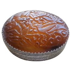 Vintage 1920-1940 Chinese Republic Carved Brown Jade Lid Silver Gilt Large Oval Box