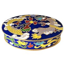 Chinese Export 20thC. Yellow Dragon's Chasing The Pearl Oval Shaped Cloisonne Box