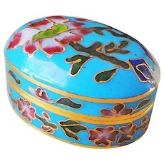 Chinese Export 20thC. Oval Turquoise Cloisonne Hinged Lid Box