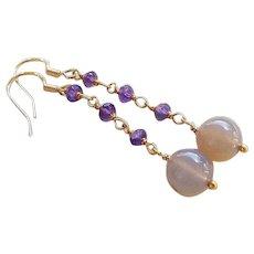 Moonstone Amethyst Gold Vermeil Sterling Earrings Pierced Ears