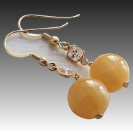 Yellow Jadeite Gold Vermeil Cubic Zirconia Earrings Pierced Ears