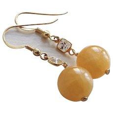Yellow Jadeite Gold Vermeil Cubic Zirconia Earrings Pierced Ears