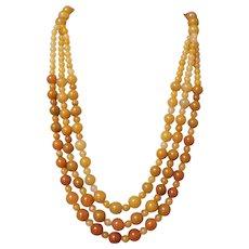 Vintage Triple Strand Festoon Yellow Golden Jadeite Necklace