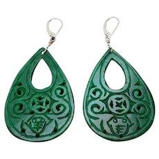 14k Hand Carved Imperial Green Jadeite Earrings