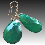 Vintage 14k Translucent Faceted Chrysoprase Teardrop Earrings