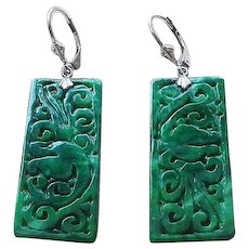 Hand Carved Imperial Green Jadeite Sterling Silver Earrings