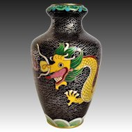 Vintage 1920's Yellow Imperial Dragons Chasing The Pearl Cloisonne Vase