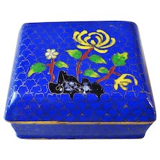 Chinese Export 20thC. Royal Blue Cloisonne Hinged Lid Box