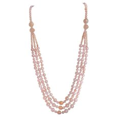 VintageTriple Strand Festoon Rose Quartz Necklace Gold Vermeil Filigree Clasp