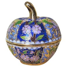 Chinese Export 20thC. Pumpkin Shape Carved Cloisonne Gold Gilt Box