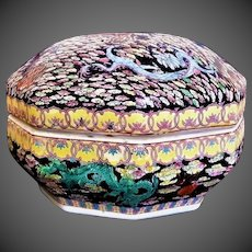 Antique 1875-1908 Chinese Huge Octagonal Porcelain Wedding Box With Lid
