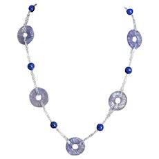 Art Deco Hand Carved Amethyst Lapis Lazuli Sterling Necklace