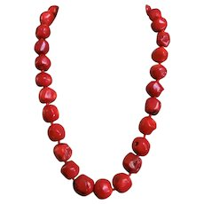 Red Coral Necklace Sterling Clasp 22 inches Length 187.2 grams