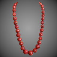 Vintage Hand Carved Large 23-13mm Deep Red Coral Necklace 209.6 grams