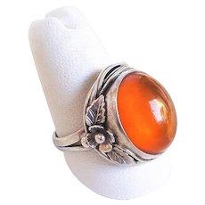 Vintage Transparent Baltic Amber Sterling Silver Ring Size 8.5