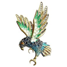 Vintage Chinese1920's  Art Deco Cloisonne Filigree Gold Vermeil Bird Brooch Pin