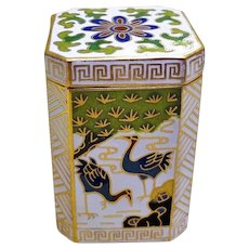 Chinese Export 20thC. Octagonal White Cloisonne Box
