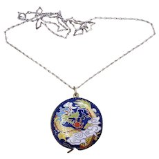 1960s Chinese Export Cloisonné Yellow Imperial Dragon Measuring Tape Pendant Necklace
