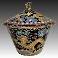 Vintage Chinese Export Yellow Dragon's Chasing The Pearl Cloisonne Bowl & Lid