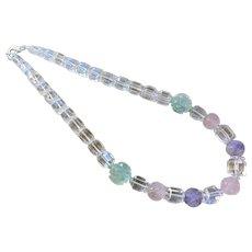 Art Deco 1920's Genuine Transparent Rock Crystal Amethyst Rose Quartz Fluorite Necklace