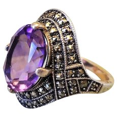 Vintage Art Deco 1920's Amethyst Marcasite Sterling Silver Ring Size 7