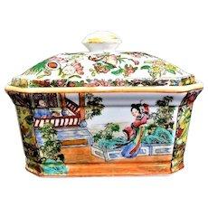 Vintage Chinese Rose Famille Hua Ping Tang Zhi Porcelain Casket Box